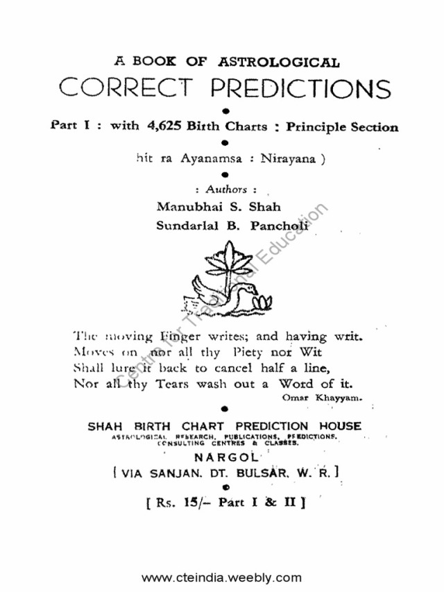 A Book Of Astrological Correct Prediction 1966 Vol I By Manubhai